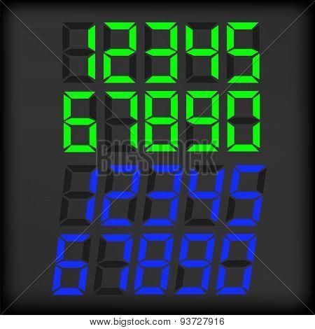 Set of Digital Clock Numbers