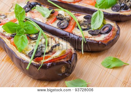Aubergine Stuffed With Vegetables And Cheese