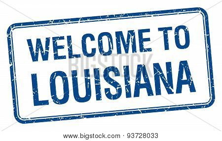 Welcome To Louisiana Blue Grunge Square Stamp