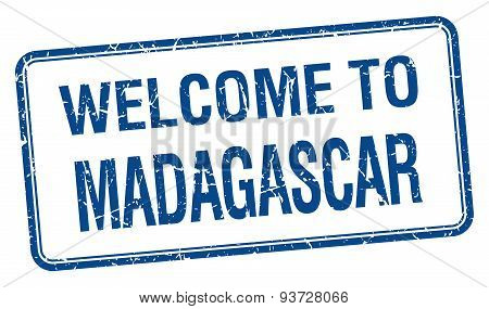 Welcome To Madagascar Blue Grunge Square Stamp