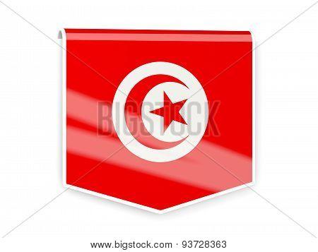 Flag Label Of Tunisia