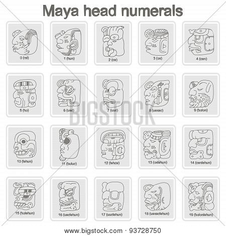 Set of monochrome icons with Maya head numerals  glyphs