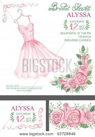 Watercolor pink bridal shower invitation.Dress,roses