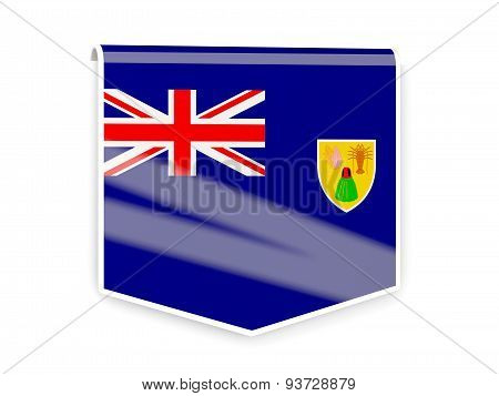 Flag Label Of Turks And Caicos Islands
