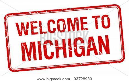 Welcome To Michigan Red Grunge Square Stamp