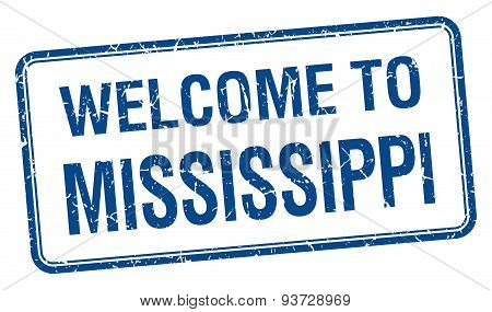 Welcome To Mississippi Blue Grunge Square Stamp