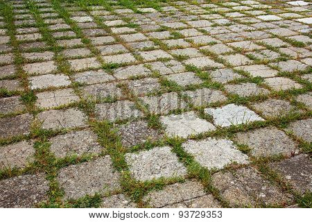 Grungy Interlocking Concrete Pavement With Grass Growing Along Its Joint For Textural Background.