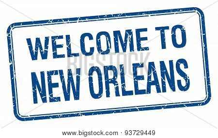 Welcome To New Orleans Blue Grunge Square Stamp