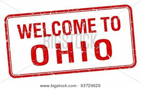 Welcome To Ohio Red Grunge Square Stamp
