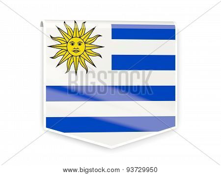 Flag Label Of Uruguay