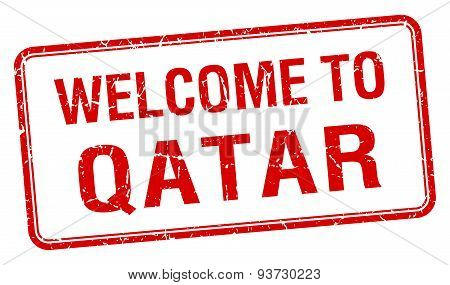 Welcome To Qatar Red Grunge Square Stamp