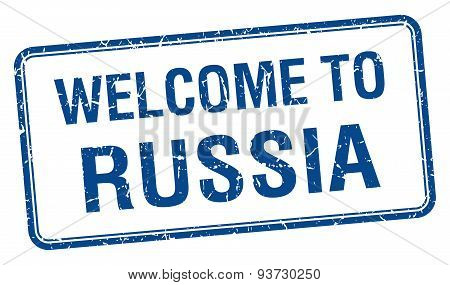 Welcome To Russia Blue Grunge Square Stamp