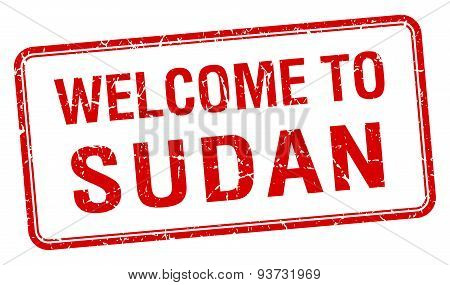 Welcome To Sudan Red Grunge Square Stamp