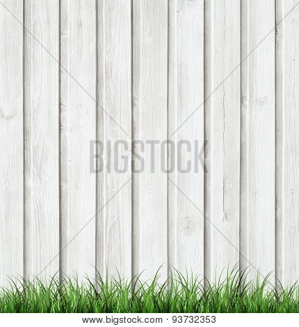 Wooden Background With Grass