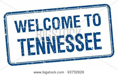 Welcome To Tennessee Blue Grunge Square Stamp