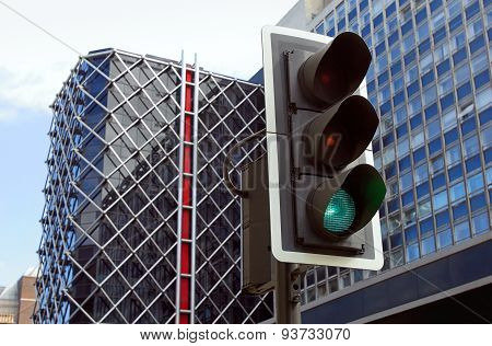 Traffic Lights In City.