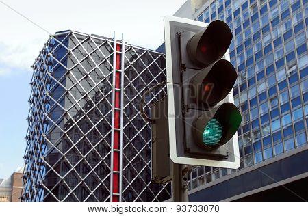 Traffic Lights In City.