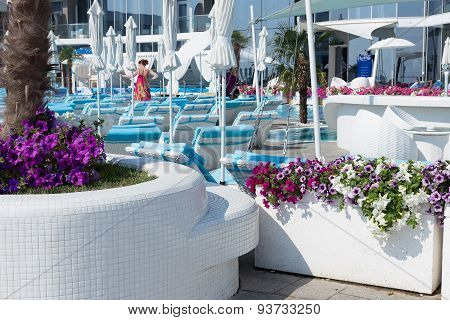 Odessa, Ukraine - 5 June 2015: View Summer Comfortable Urban Elite Cafes With Outdoor Pool In A Recr
