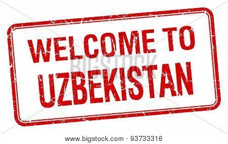 Welcome To Uzbekistan Red Grunge Square Stamp