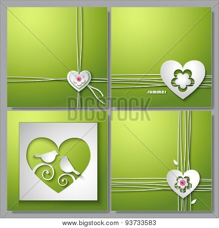 Set of backgrounds with love heart and flower. Invitation card vector