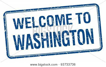Welcome To Washington Blue Grunge Square Stamp