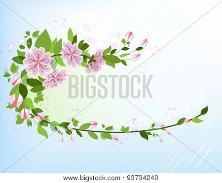 Abstract apple tree branch background with copy space.