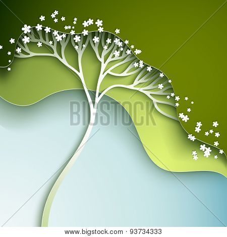 Vector illustration with stylized spring tree in gradation of green