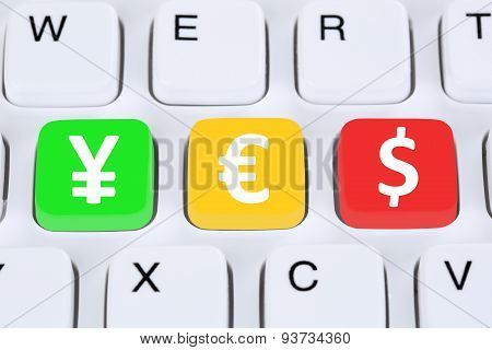 Yes With Money Currency Yen Dollar Euro Symbol On Computer Keyboard