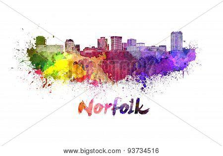 Norfolk Skyline In Watercolor