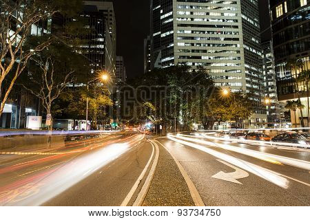 Brisbane City nightscape on Eagle and Creek Street