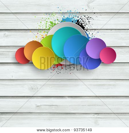 Wooden Background With Color Plates