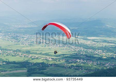 Paragliding Over Village