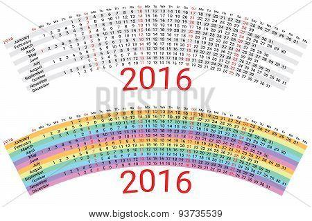 Creative Rainbow Calendar 2016