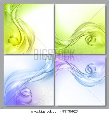 Set of Abstract blue and green wave vector backgrounds