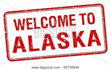 Welcome To Alaska Red Grunge Square Stamp