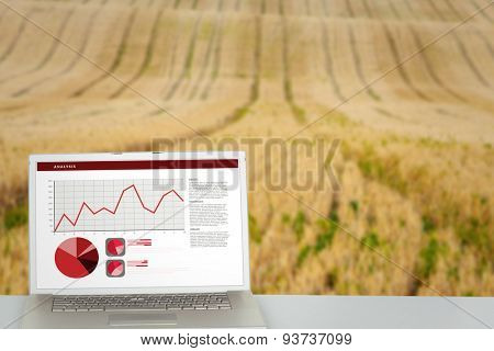 Business interface with graphs and data against rural fields