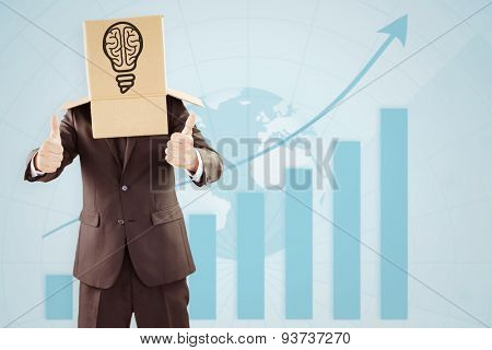Anonymous businessman with thumbs up against statistic with arrow