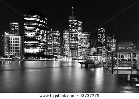 Brisbane City nightscape and Kangaroo Point Ferry Terminal
