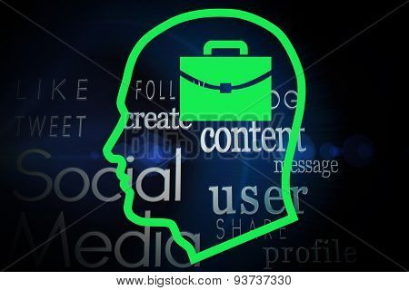 Briefcase in head against social media words on black background