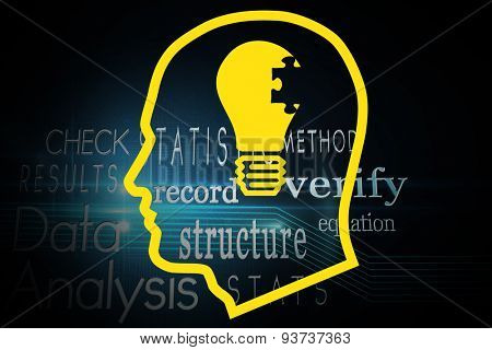 Light bulb in head against computing buzzwords computing buzzwords on black background