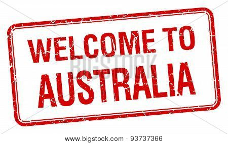 Welcome To Australia Red Grunge Square Stamp