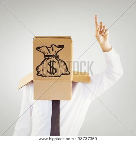 Anonymous businessman with hand pointing up against grey vignette