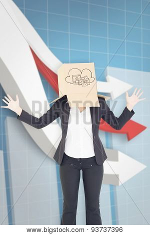 Businesswoman with box over head against digital background with arrows going down