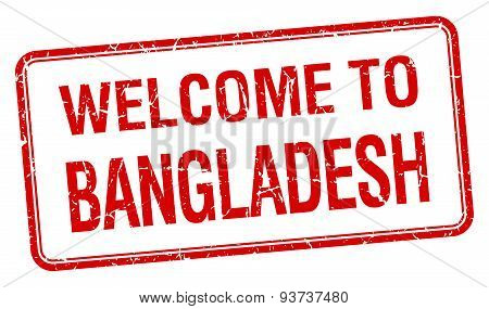 Welcome To Bangladesh Red Grunge Square Stamp