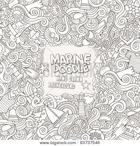 Doodles abstract decorative nautical vector frame