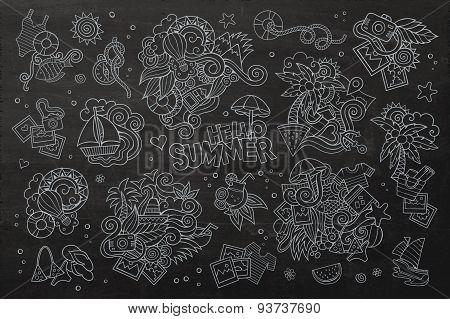 Summer and vacation chalkboard vector symbols
