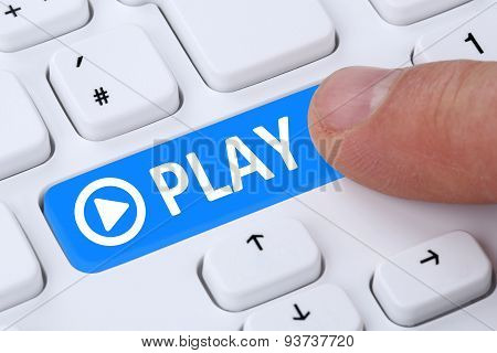 Press Play Button For Listening Music Or Movie On Internet Computer