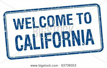 Welcome To California Blue Grunge Square Stamp