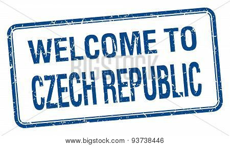 Welcome To Czech Republic Blue Grunge Square Stamp