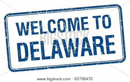 Welcome To Delaware Blue Grunge Square Stamp